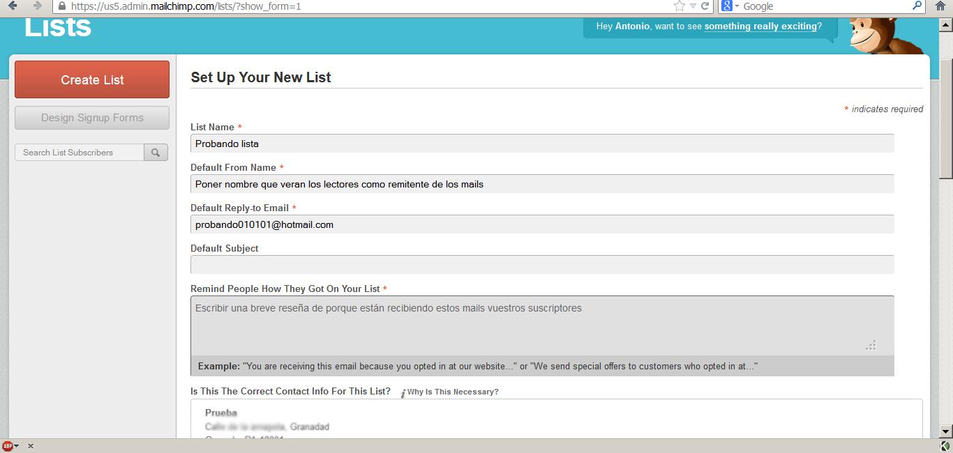 Crear una lista de suscriptores
