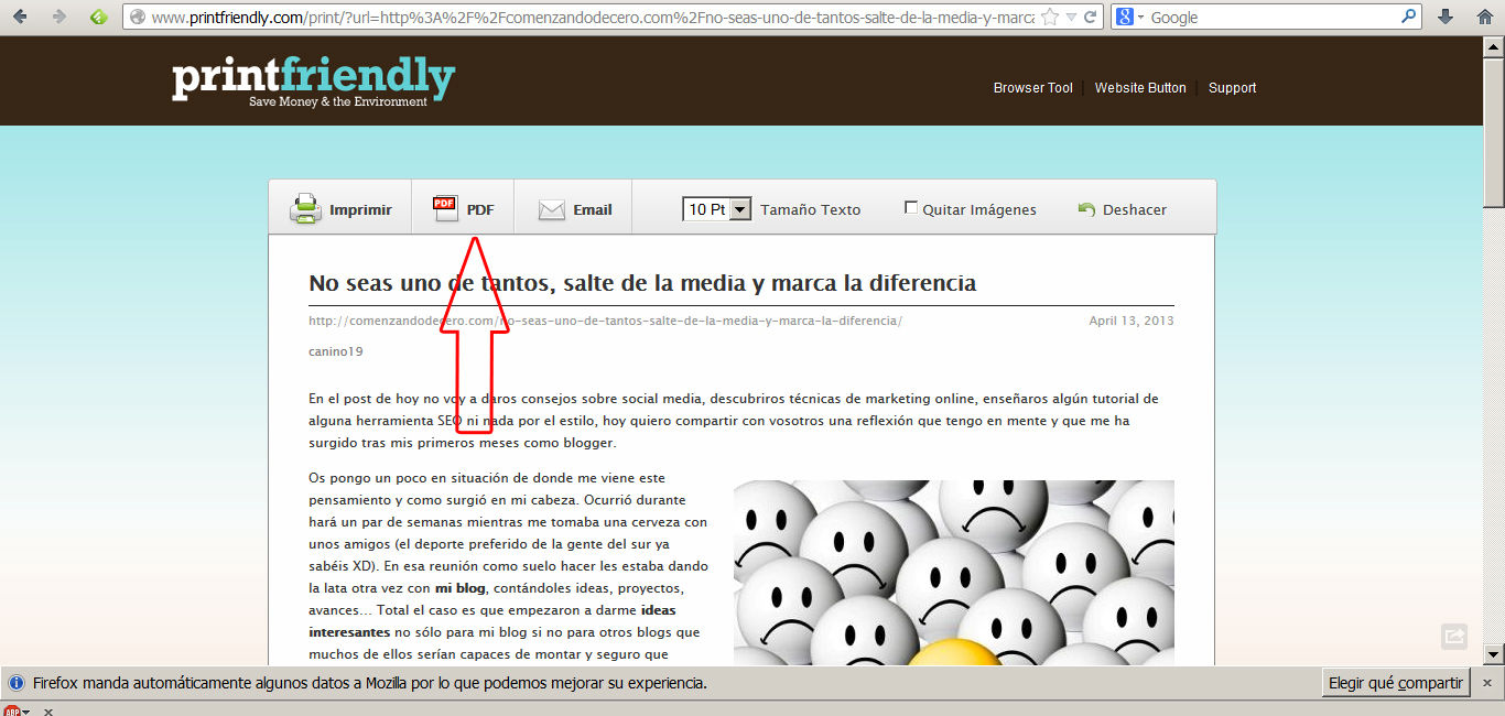pasar a pdf con printfriendly 2