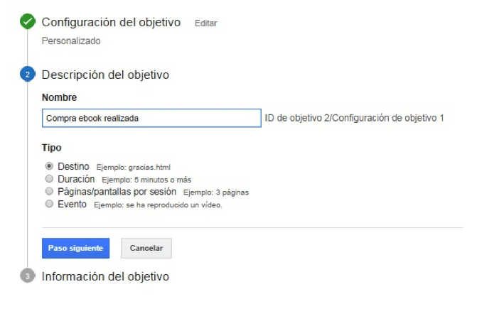 Google Analytics embudos